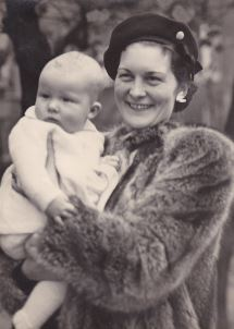 Geoff Harvey with his mother Peggy on the day of his Baptism into the Church of England