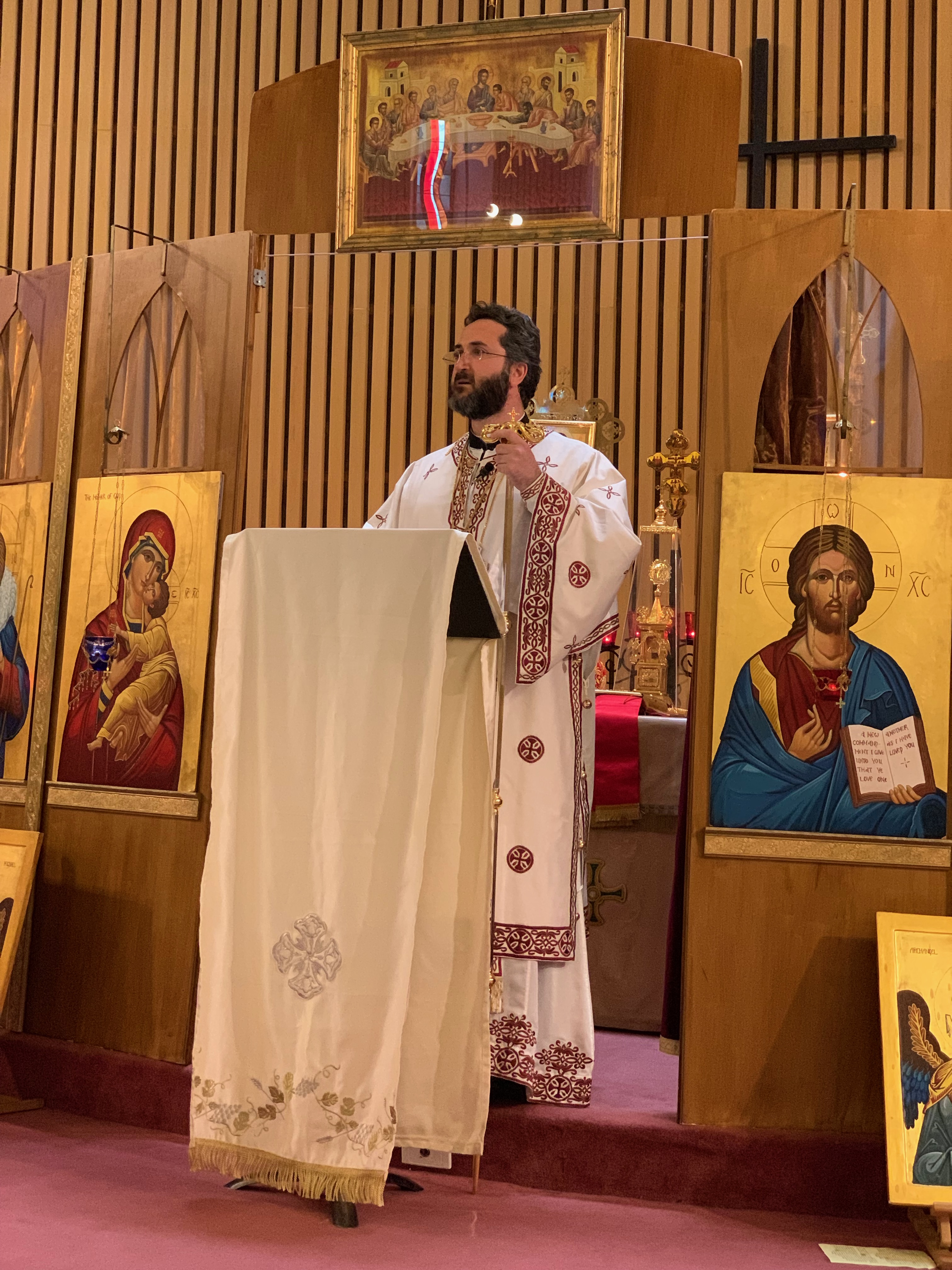 Metropolitan Basilios delivers a sermon at The Good Shepherd Orthodox Church