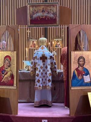 Metropolitan Basilios with the Dikirion and Trikirion at the Altar