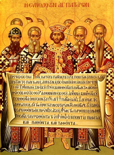 Fathers of the First Ecumenical Council holding the Creed