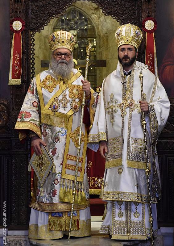 Newly ordained Metropolitan Basilios standing alongside His Eminence, John X, Patriarch of Antioch and All the East.