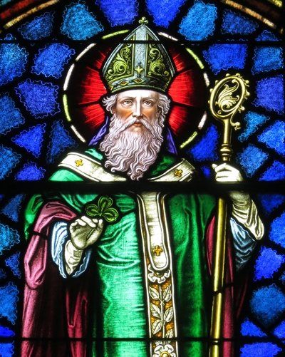 Stained glass representation of Saint Patrick, evangelist of Ireland