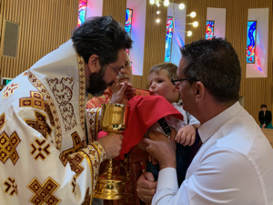 Metropolitan Basilios Serving Communion