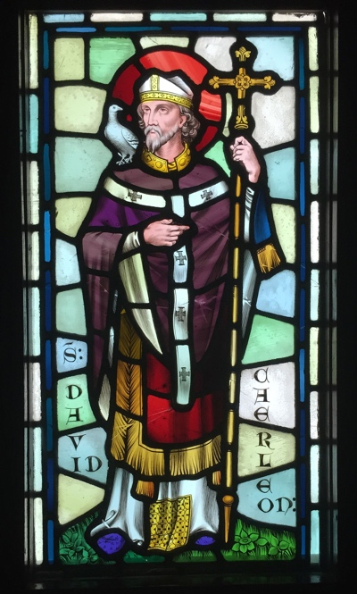 Stained glass representation of David, patron Saint of Wales