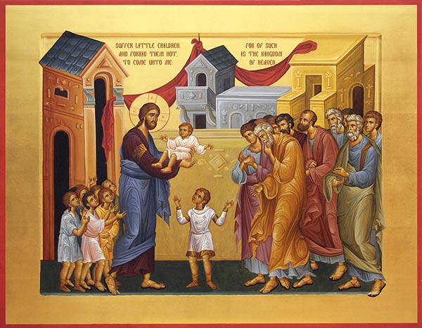 "Icon bearing the words, ""Let the little children come unto me,"" says Jesus (Matthew 19:14)"