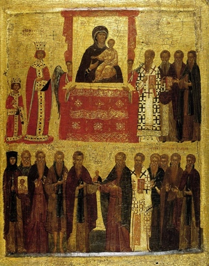 "Late 14th century icon illustrating the ""Triumph of Orthodoxy"" under the Byzantine Empress Theodora and her son Michael III over iconoclasm in 843. (National Icon Collection 18, British Museum)"