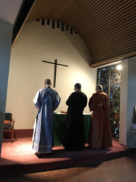 Fr. Tony, standing with Dcn. Nicholas and Sub-deacon Timothy at Vespers