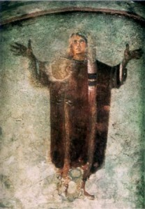 Icon of someone standing in prayer. From a catacomb.
