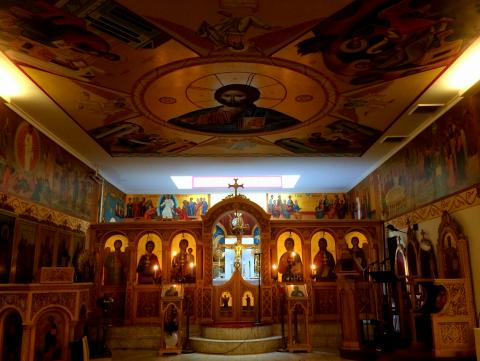 St. George Orthodox Church in NYC, featuring Christ the Pantocrator icon on the ceiling