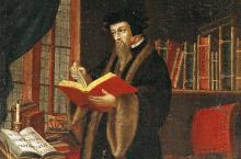 Artist's depiction of John Calvin in his study.