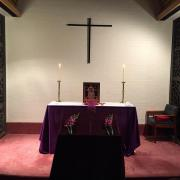 The altar prepared for the service