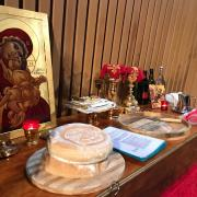 Table of Preparation containing the Holy Gifts.