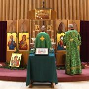Prayers in front of the Icon Stand on Pentecost Sunday.